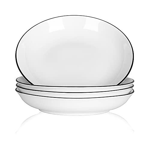TGLBT Pasta Bowl Ceramic Pasta Salad Bowls 20-ounce Porcelain Plate Set of 4, Microwaves and Oven Safe, White