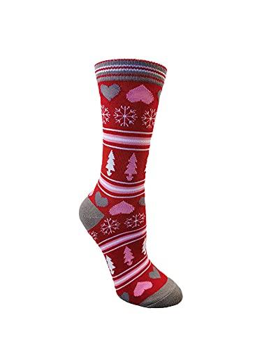 Medias hasta la rodilla de fantasía para mujer, Navidad Santa Claus/Elk/Snowflake Impresión Mediados de la pantorrilla Calcetines, Corazón rojo, talla única
