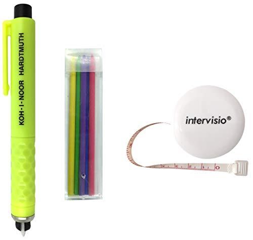 Koh-I-Noor Crayon de Tailleur en Plastique, Craie à Marquer, Couleurs Assorties, Accesoires de Couture et intervisio 1 Mètre à Ruban Rétractable Blanc