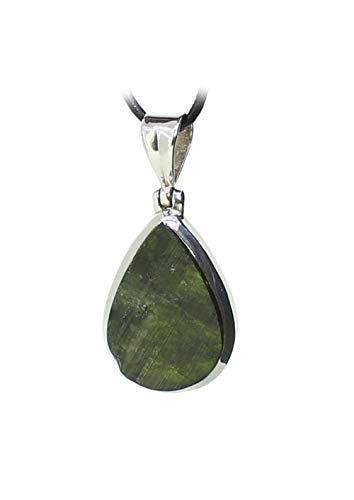 budawi® - grüner Turmalin Rohstein Anhänger Kettenanhänger 925er Silberanhänger