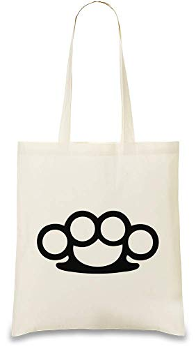 Josh God Apparel Schlagring - Brass Knuckles Custom Printed Tote Bag| 100% Soft Cotton| Natural Color & Eco-Friendly| Unique, Re-Usable & Stylish Handbag For Every Day Use| Custom Shoulder Bags By