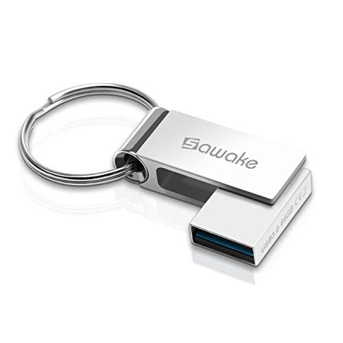 USB Stick 64GB, SAWAKE 3.0 USB-A Flash Memory Stick Metall Wasserdicht Speicherstick mit Schlüsselring, Geburtstag Geschenk für School, Büro, Kinder & Home - Silber