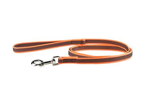 """Julius-K9 216GM-OR-S2 Gumierte Leine20 mm / 2 m mit Schlaufe und \""""D\"""" Ring, orange-grau"""