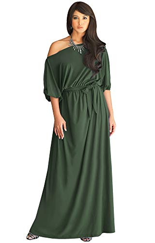 KOH KOH Plus Size Womens Long Sexy One Off Shoulder Flowy Casual 3/4 Short Sleeve Cocktail Wedding Party Guest Maternity Gown Gowns Maxi Dress Dresses, Olive Green 2XL 18-20