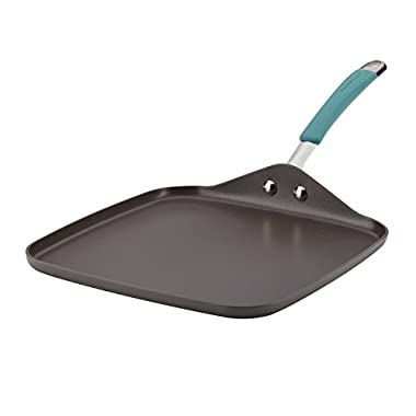 Rachael Ray 87659 Cucina Hard-Anodized Shallow Griddle, 11 , Gray With Agave Blue Handle
