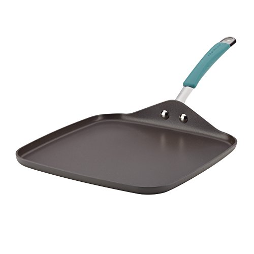 Rachael Ray 87659 Cucina Hard Anodized Nonstick Griddle Pan/Flat Grill, 11 Inch, Gray with Agave Blue Handle