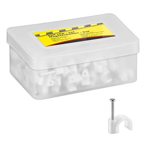 100x Kabelschelle | 5 mm | Nagelschelle Kabelklemme Kabelhalter Haftclips mit eingestecktem Nagel | Höhe: 6,3 mm | Weiß | 100 Stück