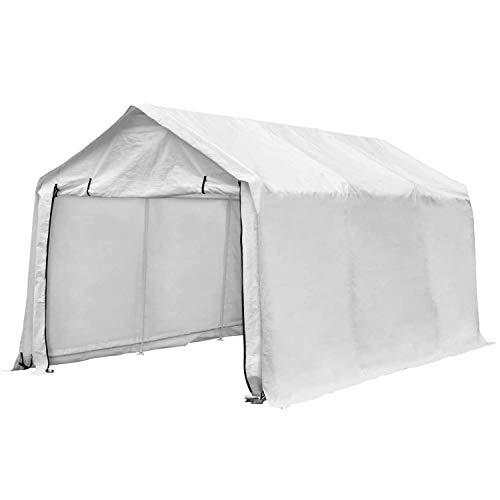 PUPZO Outdoor Patio 10x17 FT Heavy Duty Carport Car Canopy Garage Shelters 8 Steel Legs Waterproof Anti-Exposure White