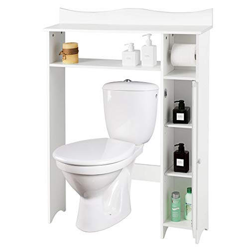 COSTWAY Toilettenregal weiß, Badezimmerregal mit verstellbaren Regalen, Badezimmerorganisator mit Seitenschrank und Papierhalter, Toilettenschrank freistehend, Überbauschrank Waschmaschinenregal Holz