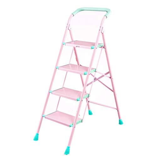 Aluminiumlegierung Kleiner Leiter Haushalt Klapp Fischgrät-Leiter verdickte Rolltreppe Vier oder fünf Stufenleiter Stuhl Innenleiter Treppe Stabilität und Sicherheit (Color : Pink)