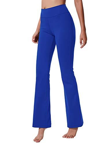 LChinFun Women's Performance Power Flex High Waist Bootleg Yoga Pants Inner Hidden Pocket Tummy Control 4 Way Stretch Bootcut Running Sweatpants Royal Blue Size M
