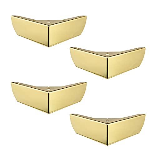 LIKERAINY Patas para Muebles 50mm Alto Pies de Mesa para Mueble de Cocina Encimera Sofá Cama Mesitas Armarios Pie de Escritorio Fuerte Color Dorado Juego de 4