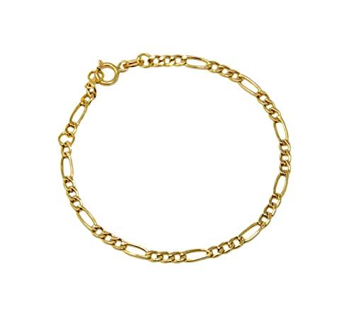 Pulsera de oro amarillo de 18 quilates 750 para recién nacidos o niños unisex doble medida ajustable de malla clásica 3+1