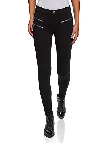 oodji Ultra Damen Jersey-Hose mit Zierreißverschlüssen, Schwarz, DE 40 / EU 42 / L