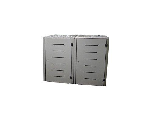 Mülltonnenbox Edelstahl, Modell Eleganza Line1, 120 Liter als Zweierbox