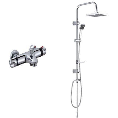 DP Grifería Extremadura - Grifo termostático de bañera, color plateado + RY-S002 - Set de ducha cuadrado (acero inoxidable) color plateado