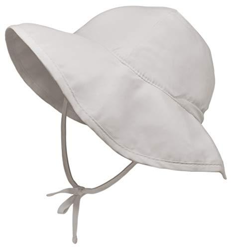 Sombrero de sol para niños pequeños, bebés, niños y niñas, gorro de natación para playa y piscina, protección UV, UPF 50+, Plano, Gris, 24-48 Months