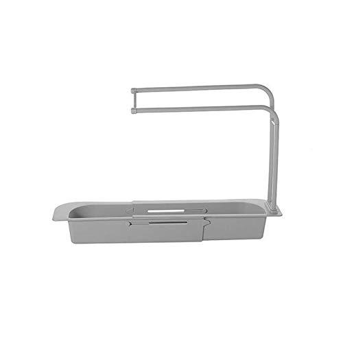 DIAMWAN Organizador de fregadero para la cocina – Ayuda de orden para el fregadero – Soporte para esponja para guardar paños (gris)