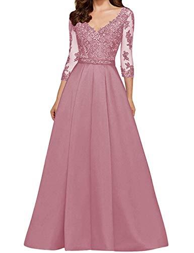 HUINI Abendkleid Vintag Ballkleider V-Ausschnitt Brautmutterkleider Hochzeitskleid Spitzen Partykleider Altrosa 42