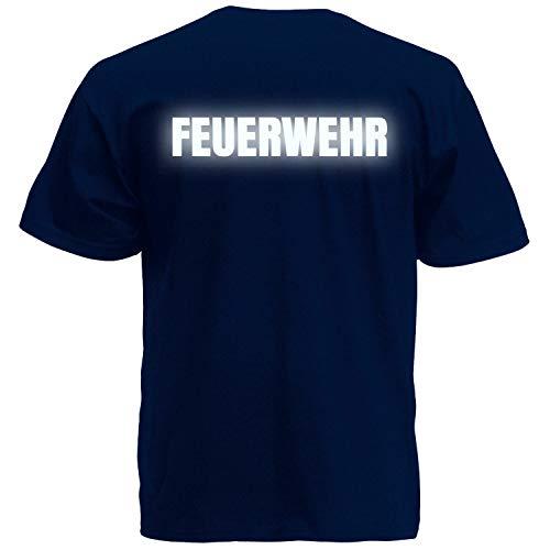 Shirt-Panda Herren Feuerwehr T-Shirt - Druck Brust & Rücken Dunkelblau (Druck Reflektierend) M