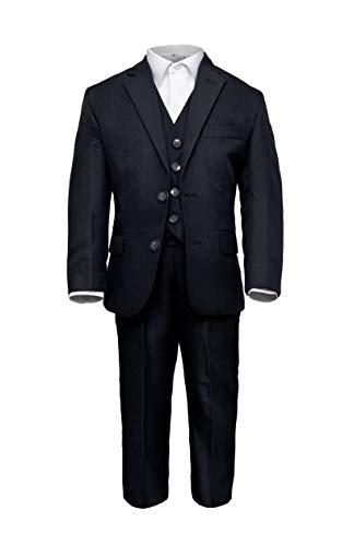 Märchenburg® 4 TLG. festlicher Jungen Anzug Kombinationen Jacke, Weste, Hose und Hemd in schwarz/Black für Kommunion Konfirmation Hochzeit Party (116)