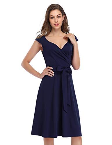 KOJOOIN Damen Vintage 50er V-Ausschnitt Abendkleid Rockabilly Retro Kleider Hepburn Stil Cocktailkleid Dundelblau M