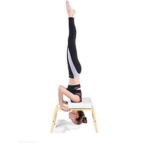 New LISI Yoga Headstand Bench, Sturdy Wood Frame Yoga Inversion Chair Aids Workout Chair Strength Tr...