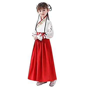 Kids Hanfu Dress Girls Chinese Princess Ancient Han Dynasty Costume Gowns Party Asian Traditional Childen Fancy Dress Outfit Red Height 56