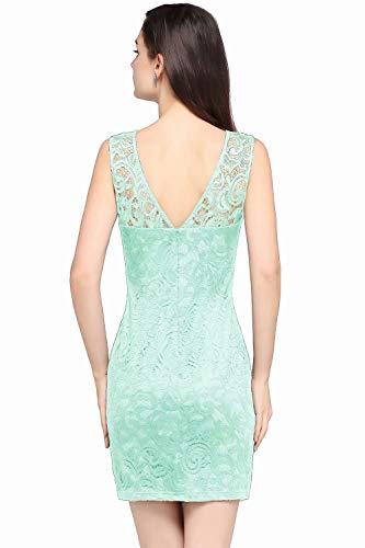 MisShow Damen Kleider V-Ausschnitt Ärmellos Elegant Etui Cocktailkleiderer Mini Abendkleid