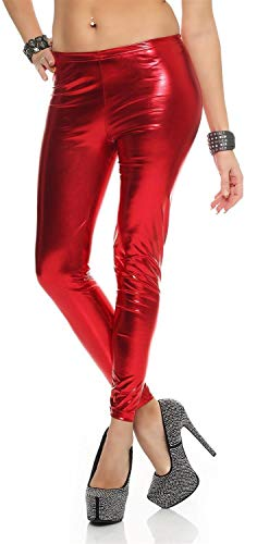 AE Leggings Metallic Latex Wet Look Lack Leder Optik Gr. S M L XL XXL 3X 4XL, 1905 Rot S/36