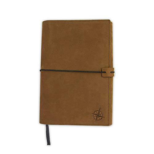 Couverture en cuir pour carnet Moleskine (grand – 12,7 x 21 cm) – Couverture en cuir pleine fleur idéale comme journal intime, livre ou couverture de la bible.