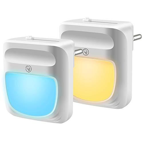 Luz Nocturna Infantil Enchufe - Luz Bebe Nocturna Lámpara Noche con Sensor de Automático 10 Colores RGB Cambiante para Habitación Dormitorio Sala Pasillos (2 piezas)