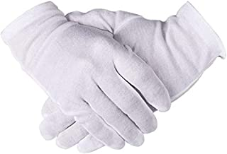 eZAKKA White Cotton Gloves 12 Pairs 8.6'' Work Gloves for Cosmetic Moisturizing Coin Jewelry Inspection Hand Spa
