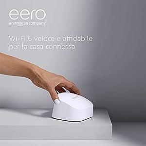 Nuovo sistema Wi-Fi 6 mesh dual-band Amazon eero 6, con hub per Casa Intelligente Zigbee integrato | Kit da 2 pezzi