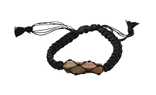 Blessfull Healing Reiki varita de doble punto Unakite piedra ajustable hilo negro pulsera joyería para Unisex