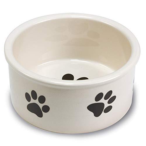 Arquivet 2509 Ceramic feeder with footprints, 12 cm, White / Black
