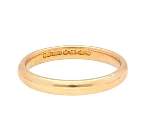 Alianza de boda de oro amarillo de 22 quilates con forma de D, tamaño L, 3 mm de ancho