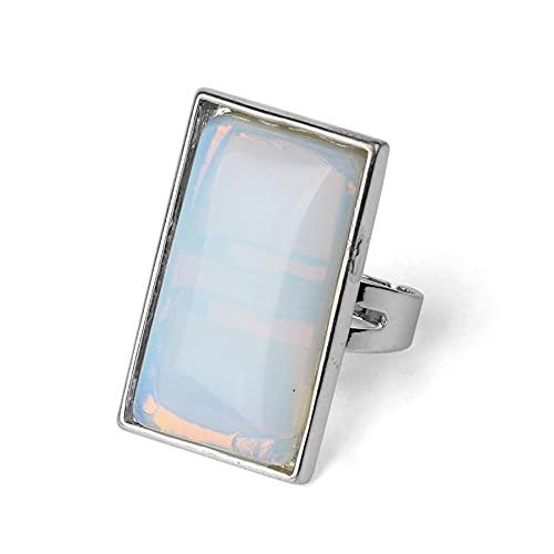 Rectángulo Piedras naturales Anillos de dedo Anillo ajustable de color plateado Cristal Cuarzo rosa Joyería de declaración para mujer