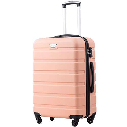 COOLIFE Suitcase Trolley Carry On Hand Cabin Luggage Hard Shell Travel Bag Lightweight 2 Year Warranty Durable 4 Spinner Wheels (Sakura Pink, M(67cm 60L))