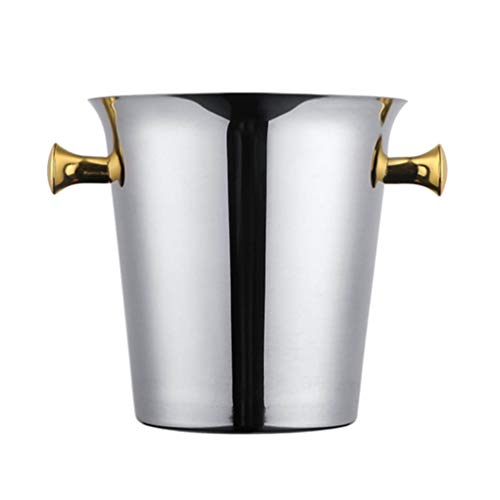 YARNOW Cubo de Hielo de Acero Inoxidable Bañera de Bebidas Aislada Cubo de Vino de Champán Cubo Enfriador Cesta de Cubo con Mango para Fiestas Bodas Cerveza Whisky Plata 2L