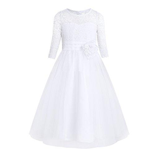IEFIEL Vestido Princesa de Fiesta para Niña Manga Larga Vestido Elegante Encaje...