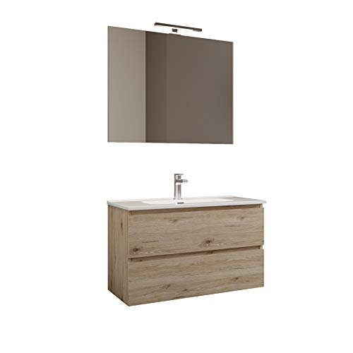 MaMa Store Atena Quercia Naturale Mobile sospeso con lavabo, specchio e lampada LED, Laminato, Quercia Naturale L. 101 X P. 47 X H. 53 CM