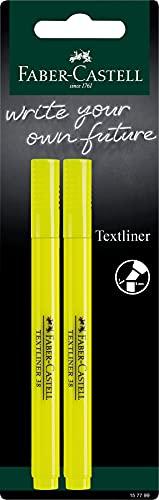 Faber-Castell 157799 - Evidenziatori TL38, set da 2 pezzi, tratto 1-4 mm, giallo fluo