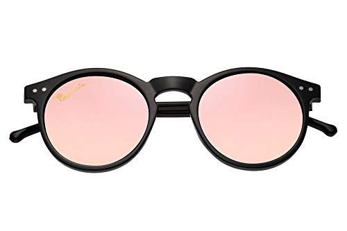 Capraia Timorasso Festival Round Vintage Sunglasses Ultra Light High Quality TR90 Shiny Black Frame and Pink Mirrored Polarised Lenses UV400 protected Womens