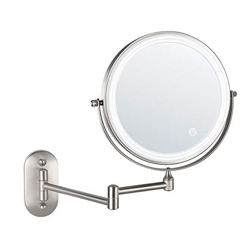 alvorog LED Kosmetikspiegel wandmontage Wandspiegel Beleuchtet mit 1x/5x Fache Vergrößerung Touchscreen Rasierspiegel Schminkspiegel für Badezimmer Kosmetikstudio Zuhause