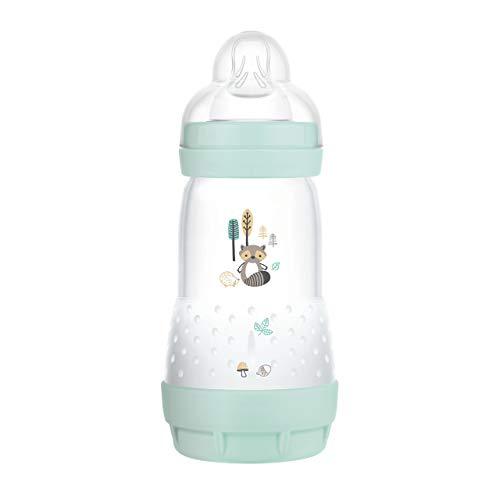 MAM Easy Start - Biberón anticólicos (260 ml), Botella de Leche para la combinación con la Lactancia, Botella para bebé con válvula de Suelo contra cólicos y tetina, tamaño 1, 0 Meses + Mapache.