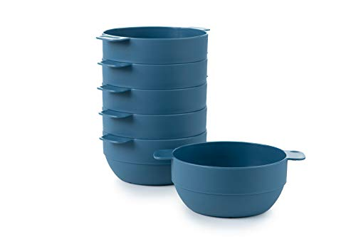 Amuse- Unbreakable & Stackable Bowls < Dessert, Cereal or Ice Cream > - 6 pcs- 16.9 oz (Blue)