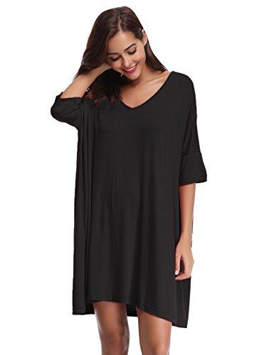 Aibrou Damen Nachthemd Nachtkleid Kurz Sommer Nachtwäsche Negligee Umstandskleid Stillnachthemd Sleepshirt aus Modal Schwarz L