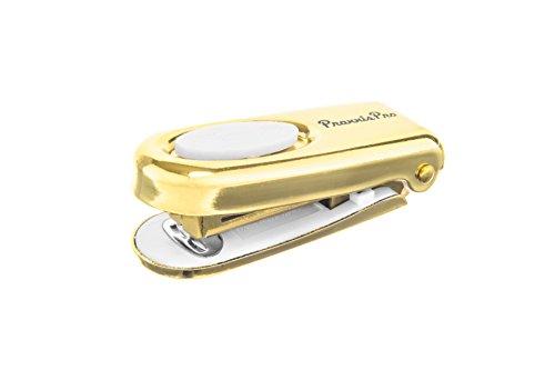 PraxxisPro Mini Stapler, Set of 2, Built-in Staple Remover, (Gold)