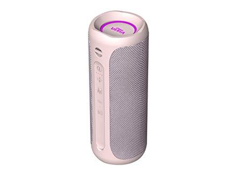 Altavoz Goody 2 de Vieta Pro, con Bluetooth 5.0, True Wireless, Micrófono, Radio FM, 12 Horas de batería, Resistencia al Agua IPX7, Entrada Auxiliar y botón Directo al Asistente Virtual; Color Rosa.
